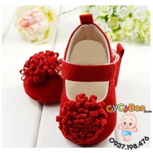 Giày Bé Gái Tập Đi Nhung Đỏ Cho Bé Gái Cực Êm Chân
