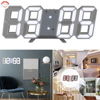 ✂GT⁂ Modern Digital 3D LED Wall Clock Alarm Clock Snooze 12/24H Display USB Charging