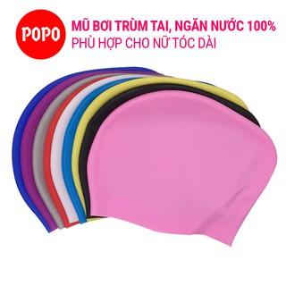 [Mã FASHIONGREEN15 giảm 10% đơn 99K] Nón bơi silicone trùm tai, trùm tóc cho nữ có tóc dài POPO Collection CA45 thumbnail