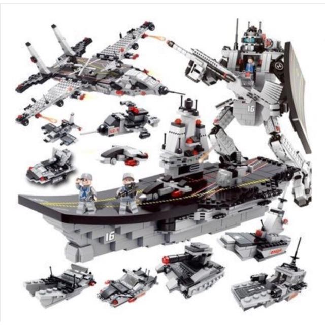 [Loại 1] Lego tàu sân bay chiến hạm robot-có hộp nhựa