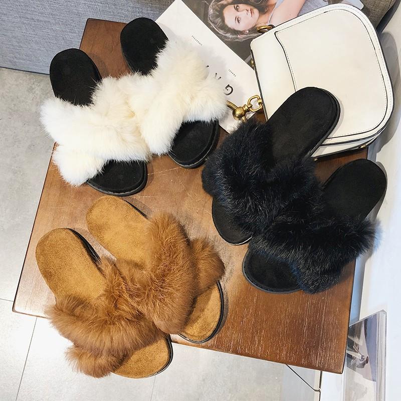 N 2018 Korean new version of fashion women's cross fur sandals m