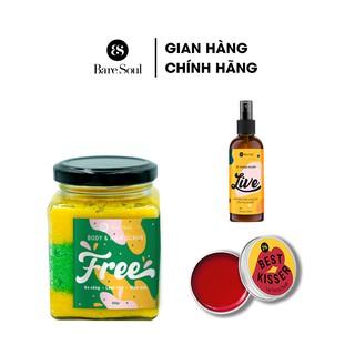 Combo Muối tắm gội BareSoul Free Body & Hair Scrub 300g + Xịt khuẩn LIVE 100ml + Son dưỡng Lip Tint & Cheek 10g thumbnail
