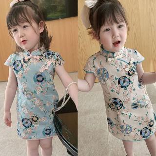 Đầm tay ngắn cổ tròn kiểu Trung Hoa thời trang sành điệu cho nữ