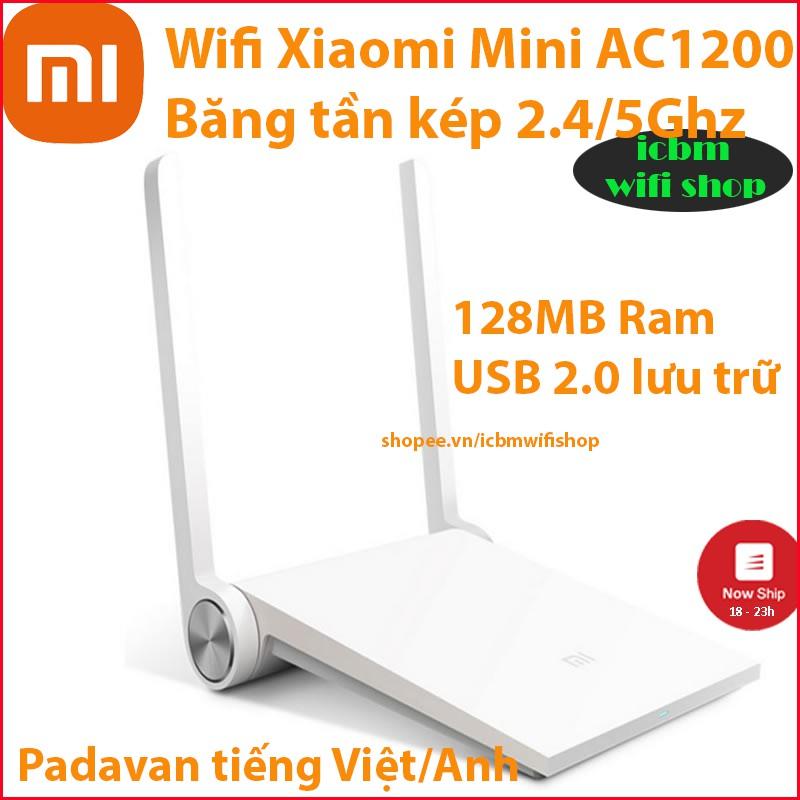 Router wifi Xiaomi Mini phát wifi kích sóng repeater 5G 2.4G AC1200 tiếng Việt Padavan  ICBM wifi shop