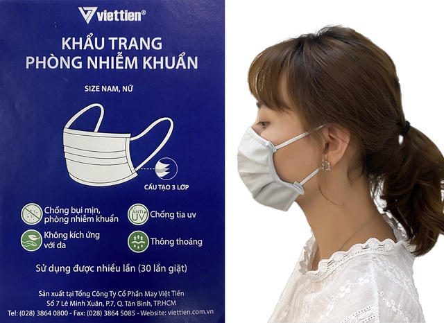 Khẩu trang vải phòng nhiễm khuẩn Việt Tiến gói 3 cái (giao màu ngẫu nhiên)