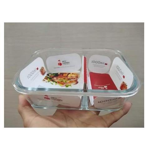 Hộp cơm thủy tinh chia ngăn, hộp cơm văn phòng đựng thức ăn cao cấp