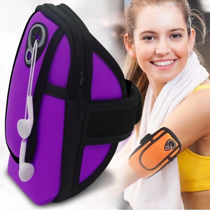 Túi đeo tay chạy bộ, túi đeo tay chống nước tiện dụng có ngăn đựng điện thoại, có cổng cắm tai nghe tiện lợi