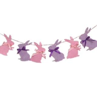 6Pcs/Set 3M Happy Easter Fabric Flag Cute Rabbit Birthday Party Supplies Hanging Decoration