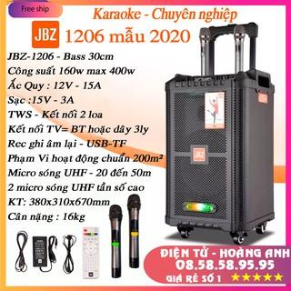Loa kéo karaoke JBZ-NE-1206 / 1006 / 0806 (Loa 1206 Bass 30cm công suất 160w max 400w) tặng 2 Micro UHF- Kim loại