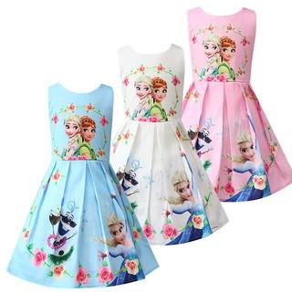 Váy không tay công chúa Anna và Elsa cho bé gái từ 3-8 tuổi