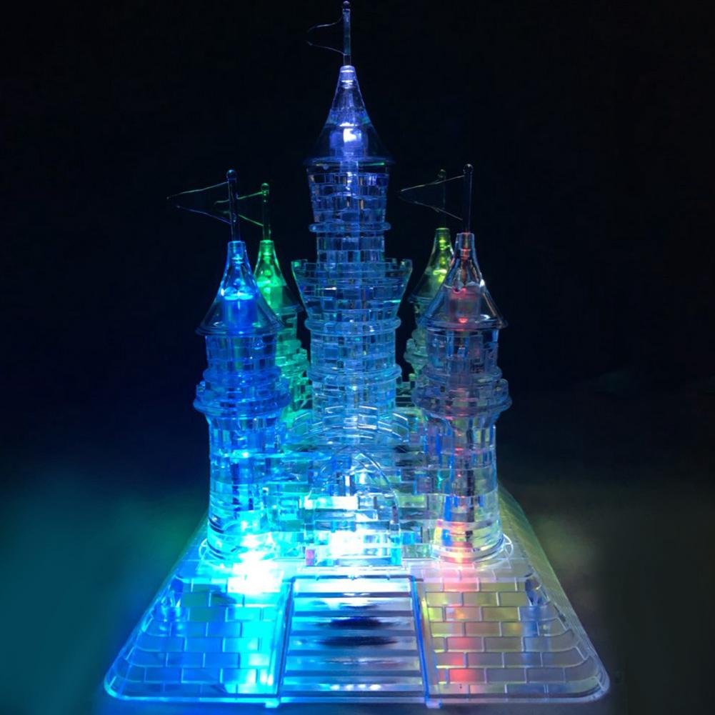 Flashing Light Jigsaw Model 105pcs 3D Crystal Castle Puzzle 14*14*20CM