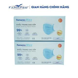 Combo 2 hộp khẩu trang y tế cao cấp kháng khuẩn 4 lớp Famapro max màu xanh (40 cái hộp) thumbnail
