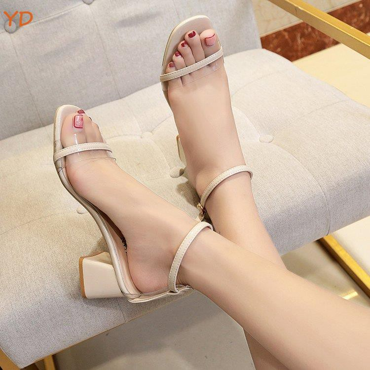 YD sandals female 2019 summer new European station wild sexy thick with high heels word buckle with open toe Roman shoes