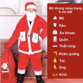 Bộ quần áo ông già Noel hay bộ trang phục noel người lớn vải nhung sang trọng 9 chi tiết