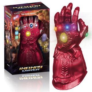 (TRI ÂN KHÁCH HÀNG) Găng tay anh hùng iron loại mềm cao cấp các ngón tay gập được dùng pin phát nhạc có đèn (kèm pin)