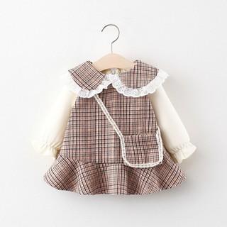 [Tặng Túi Chéo] Váy Đầm Dài Tay Cho Bé – Váy Thu Đông Chất Dạ Cho Bé 1 2 3 4 tuổi TD295 QC
