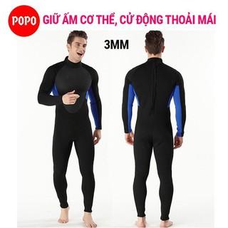 Bộ đồ lặn, quần áo lặn biển 3mm (BLACK) giữ ấm, thoáng khí, chống thầm nước cao cấp POPO Collection (Size M) thumbnail