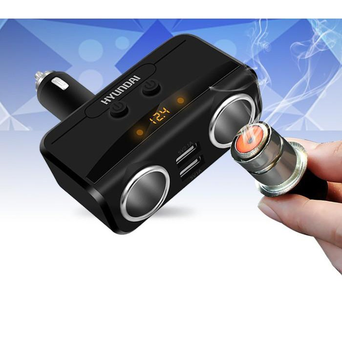 Bộ chia tẩu sạc xe hơi cao cấp hàng hiệu HYUNDAI 2 tẩu - 2 cổng USB (Agiadep)