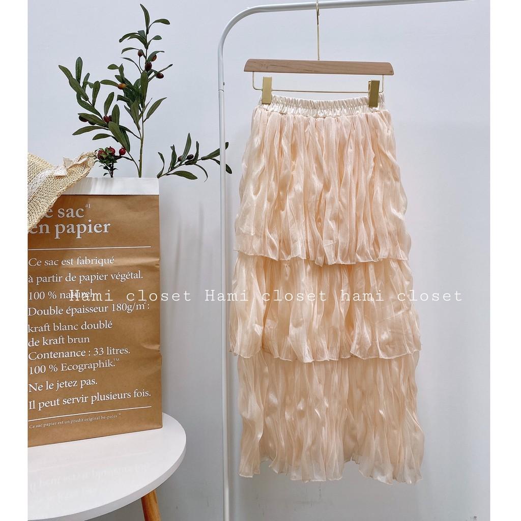 Chân váy ba tầng vải organza siêu xinh chân váy dài qua gối phong cách Hàn Quốc mã CVD13