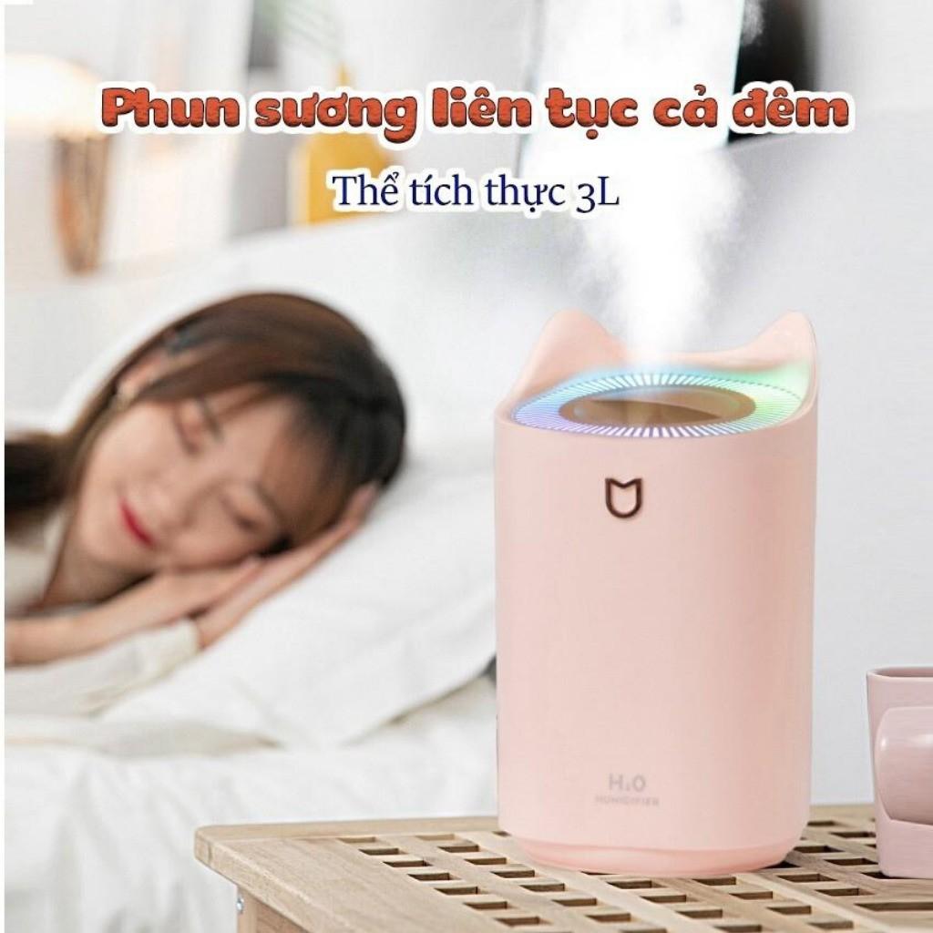 (Tặng tinh dầu) Máy phun sương khuếch tán tính dầu cỡ lớn KR 248- Phun 3 chế độ, 3 Lít, Sạc USB, Đèn ngủ LED - KARA 248