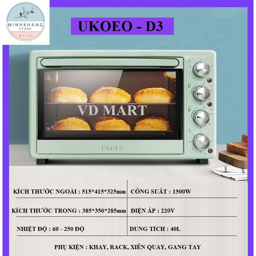Lò Nướng Ukoeo D3 dung tích 40l ngọc xanh ngọc- Lò nướng bánh, nướng gà - Chính Hãng- Bảo Hành 12 Tháng