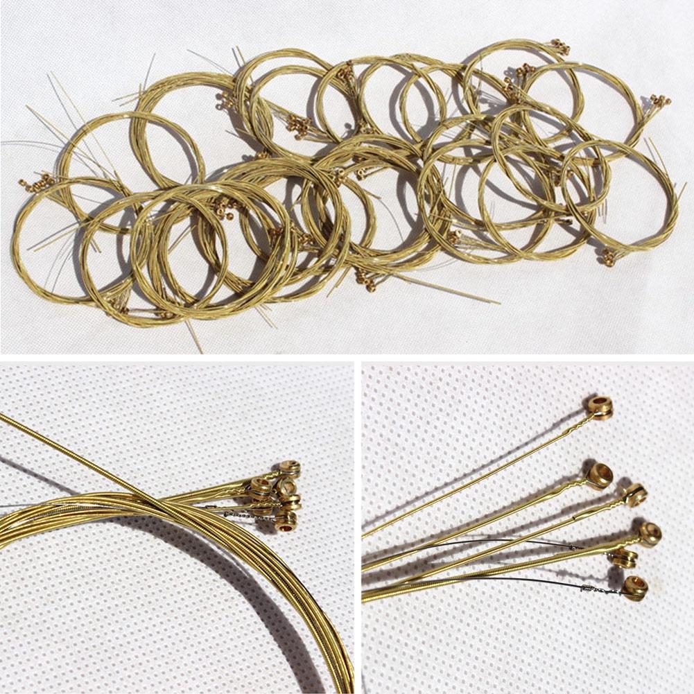 Acoustic Guitar Steel Strings Gauge Set of Wooden E-A Brass Color Parts