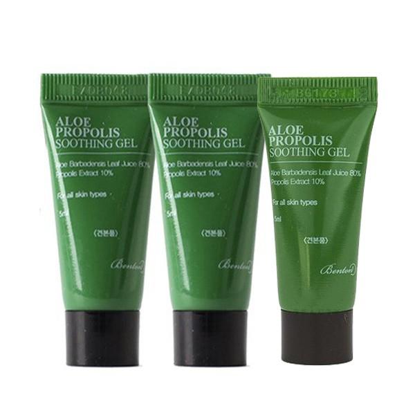 [Đại lý chính thức] Bộ 3 Gel dưỡng ẩm cấp nước cho da nhạy cảm, da mụn Benton Aloe Propolis Soothing Gel (mini size 5ml)