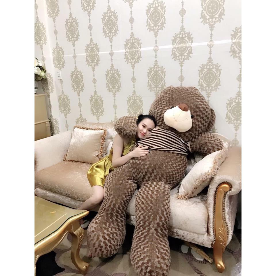 Gấu bông Teddy Cao Cấp khổ vải 2m Cao 1,8m màu Nâu Khói hàng VNXK