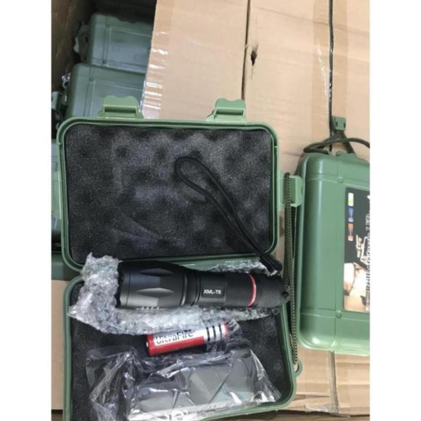 Đèn pin siêu sáng❤️FREESHIP❤️Đèn Pin Siêu Sáng Cao Cấp T6 Hợp Kim Chống Nước Pin Có Thể Sạc Lại Full box(Loại Tốt)