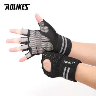 Găng tay tập gym hở lưng có cuốn cổ tay, đệm lòng bàn tay chống trượt AOLIKES HS 113 thumbnail
