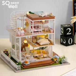 Mô hình nhà búp bê lắp ghép có Đèn Led Mẫu Điều Tốt Đẹp Tặng kèm cót nhac và bộ dụng cụ lắp ghép
