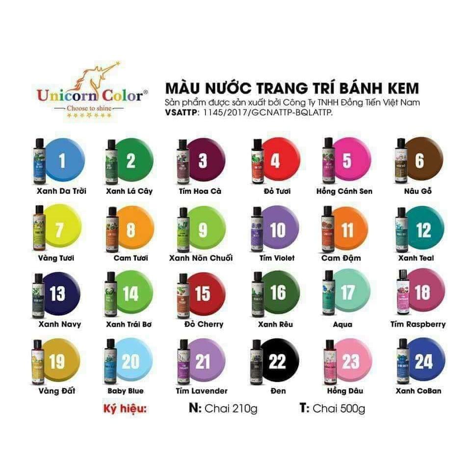 Màu thực phẩm Unicorn 210gr mã màu từ 16-24