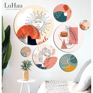 Set 7 tranh tròn decor Luhau Minimalism tối giản dán tường, tranh treo tường hiện đại,gắn sẵn băng dính 3M sau mỗi tranh
