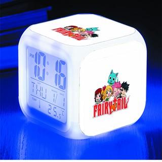 Đồng hồ báo thức để bàn in hình Fairy Tale Hội pháp sư anime chibi LED đổi màu
