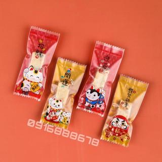 Túi Kẹo Nougat, túi Kẹo Hạnh Phúc, túi Kẹo Sữa Hạt Mèo Thần Tài Vàng Đỏ (200c/bịch)