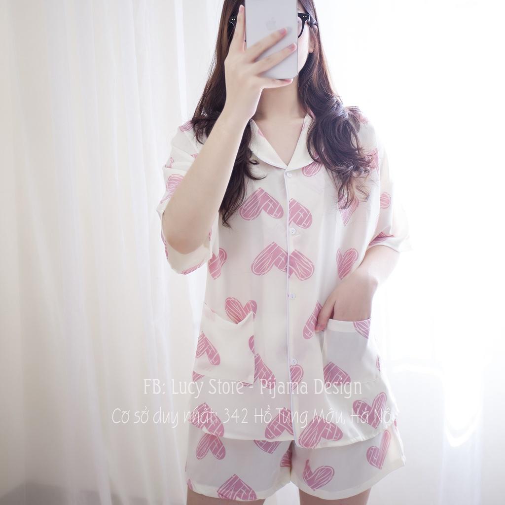 Mặc gì đẹp: Gọn tiện với Đồ Bộ Pijama Nữ Vải Lụa Mango Hàng Thiết Kế Cao Cấp Chất Siêu Mát Không Nhăn Mặc Quần Áo Ngủ Mặc Ở Nhà Dễ Thương