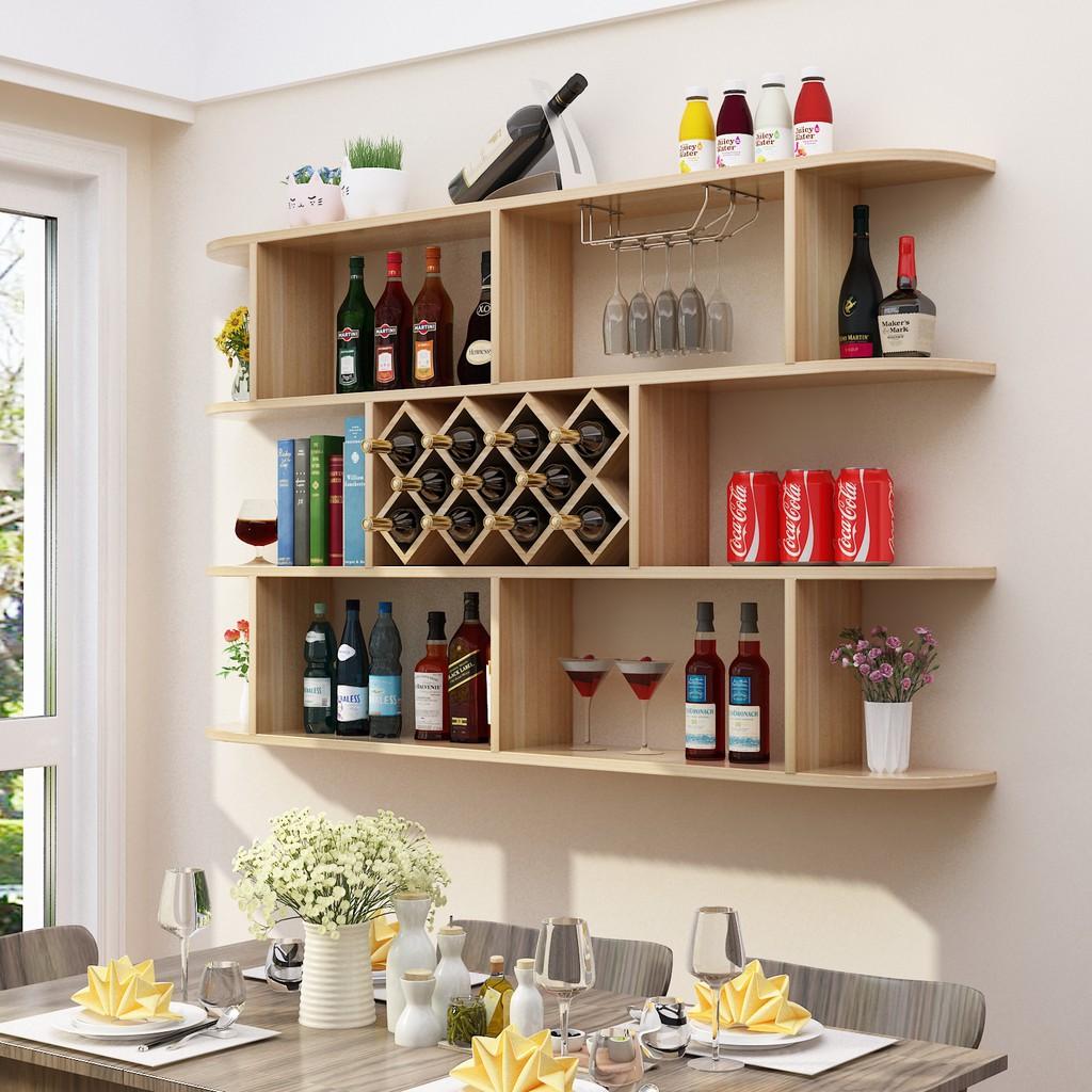 [ SALE NGÀY CUỐI] Kệ rượu Gỗ treo tường 1.6m phòng khách/phòng bếp- GP46.3