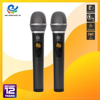 Micro Karaoke, Micro Không Dây MU 02 đen (2 Mic), Chuyên Dụng Cho Loa, Amply,  Đổi Mới Trong 07 Ngày, bảo hành 12 tháng