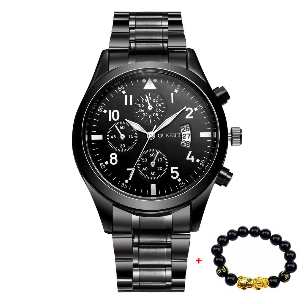 Đồng hồ nam dây thép không gỉ Oukeshi OU2545 full black + Tặng vòng tay thạch anh may mắn