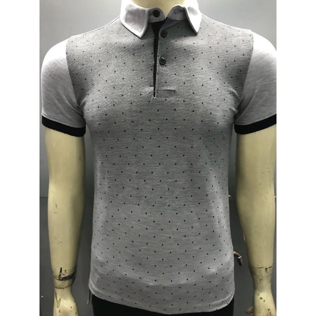 Áo Thun Nam có cổ Massimo Ghi Xám CB001 hàng đẹp, Áo phông nam có cổ chất liệu cotton