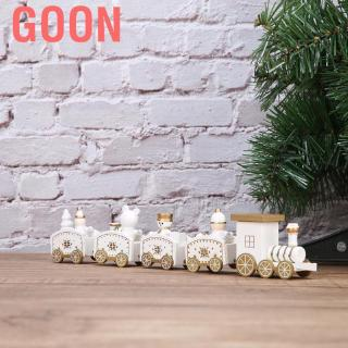 Goon Wood Train Toy for Kids Snowman Bear Wooden Carriages Railways Set Children Christmas New Year Gift