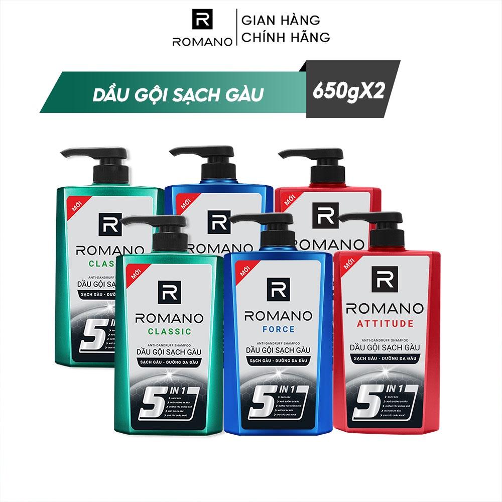 Combo 2 Dầu gội sạch gàu hương nước hoa Romano 650g/chai