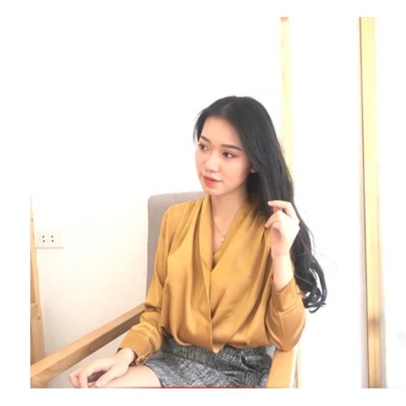 Áo Sơ Mi Nữ Tay Dài Cổ Đắp Chéo - vải satin lụa mềm mượt mát êm như hình