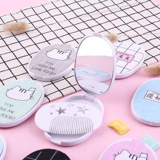 Gương mini cầm tay Hàn Quốc dễ thương - Tặng kèm lược thumbnail