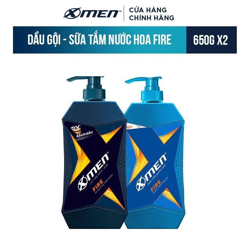[Mã FMCG8 - 8% đơn 199K] Combo Dầu Gội X-Men Nước hoa Fire 650g+Sữa Tắm X-Men Nước hoa Fire 650g