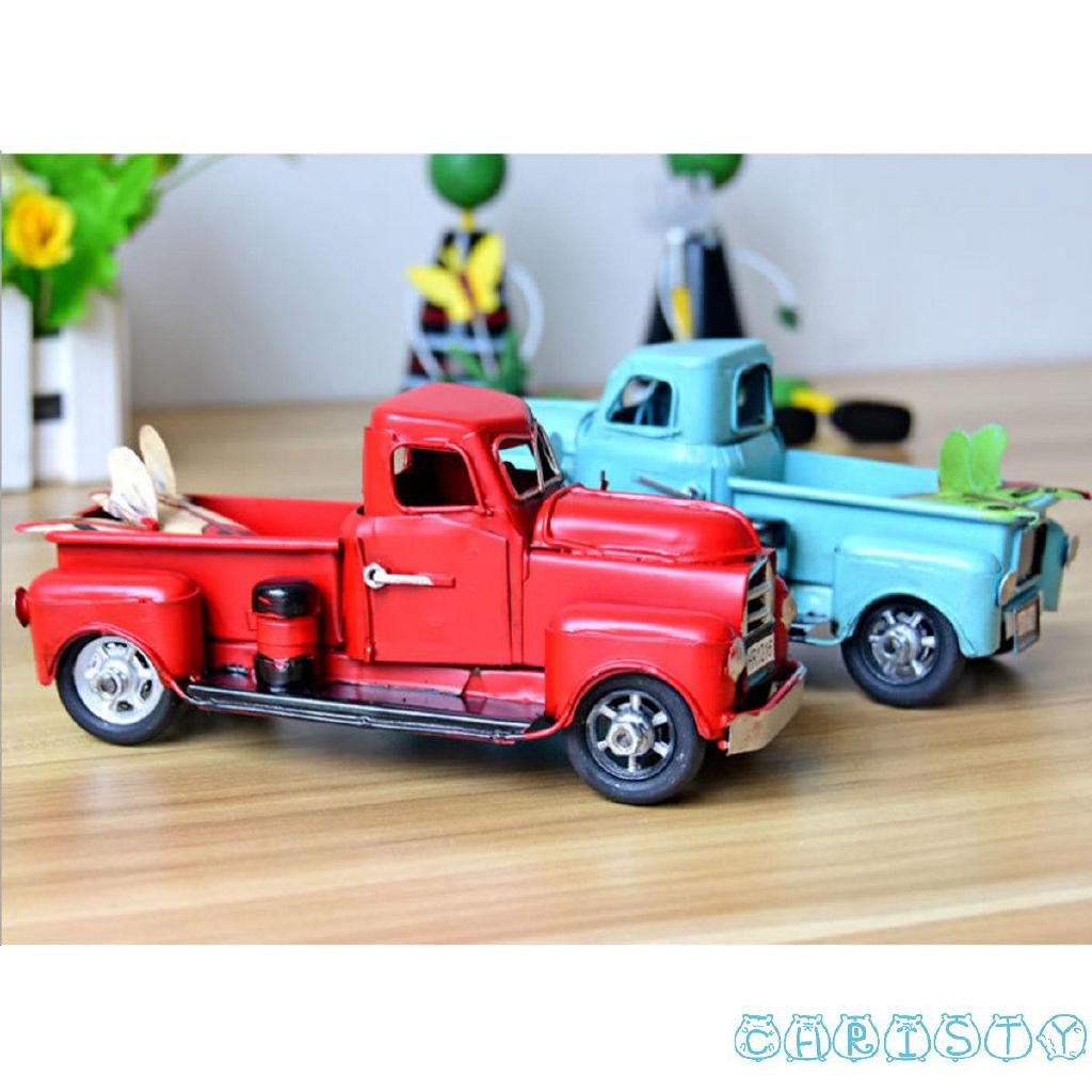 ✪B-BNew Vintage Red Metal Truck Easter Ornament Kids Best Gifts Toy Table Top Decor