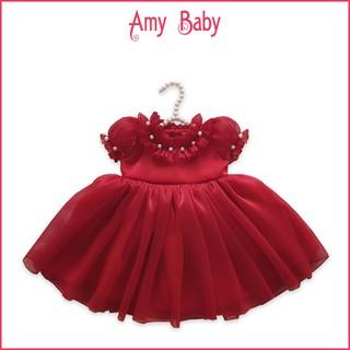 Set Váy Công Chúa Màu Đỏ Cho Bé Gái Vải Voan Tơ Cao Cấp Cổ Bèo SSA01-35