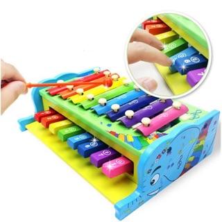 Đàn gõ piano 2 tầng đồ chơi gỗ thông minh cho bé