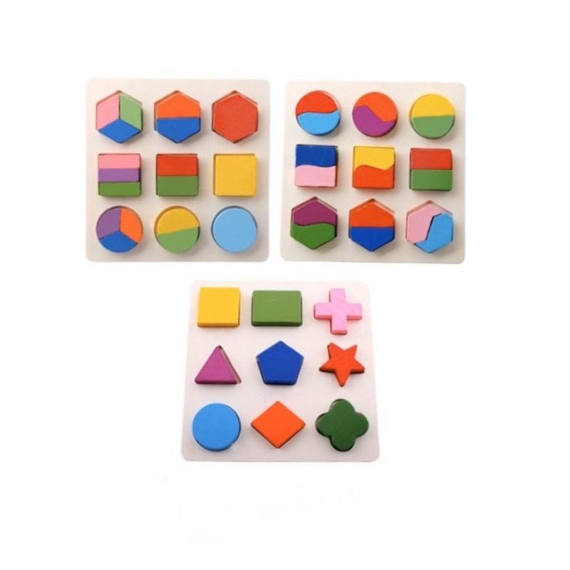 Combo 3 bộ lắp ghép hình học gỗ – đồ chơi gỗ an toàn trí tuệ cho bé