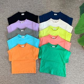 Kids Girls and Boys Summer Solid Color Short Sleeved T-shirt Loose Tops